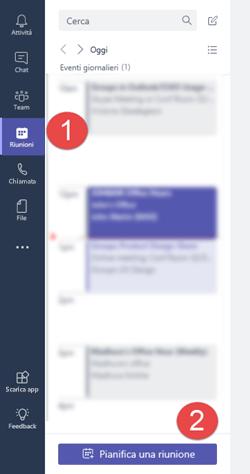 """Nella scheda riunioni fare clic su """"pianificare una riunione"""" per aggiungere una riunione nel calendario"""