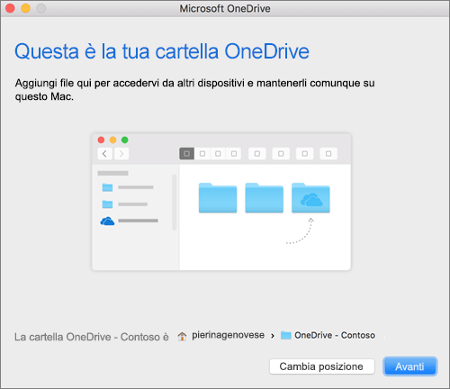 Screenshot della schermata Questa è la tua cartella OneDrive visualizzata dopo la selezione di una cartella nella procedura guidata Benvenuto in OneDrive in un Mac