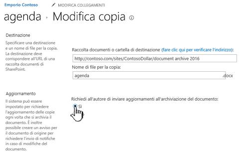 Fare clic su Sì nella finestra di richiesta dell'autore di inviare aggiornamenti quando il documento è archiviato sezione