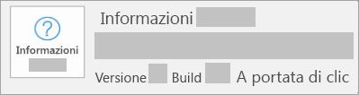 La schermata che mostra versione e build è A Portata di clic