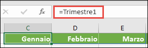 """Usa una costante di matrice denominata in una formula, ad esempio = Trimestre1, dove Trimestre1 è stato definito come = {""""gennaio"""", """"febbraio"""", """"marzo""""}"""