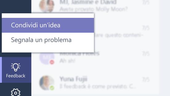Questa schermata mostra come inviare feedback.
