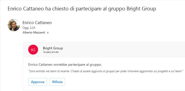 Un utente può individuare un gruppo e desidera partecipare. Se il gruppo è privato, il proprietario riceve un messaggio di posta elettronica con la richiesta. Il proprietario può approvare o rifiutare la richiesta.