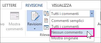 disattivare il markup di revisione per la stampa