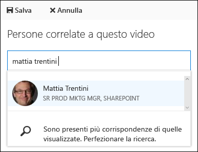 Utenti associati a Office 365 video