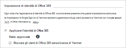 Screenshot della casella di controllo Blocca gli utenti di Office 365 senza licenza di Yammer nelle impostazioni di sicurezza di Yammer