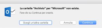 Questo messaggio viene visualizzato la prima volta che si usa il pulsante Archivia in Outlook 2016 per Mac