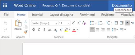 Fare clic sulla barra del titolo per cambiare il nome di un documento di Word Online