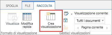 Pulsante Crea visualizzazione della raccolta di SharePoint nella barra multifunzione.