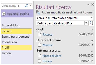 Screenshot dei risultati della ricerca di un intervallo di date in OneNote 2016.