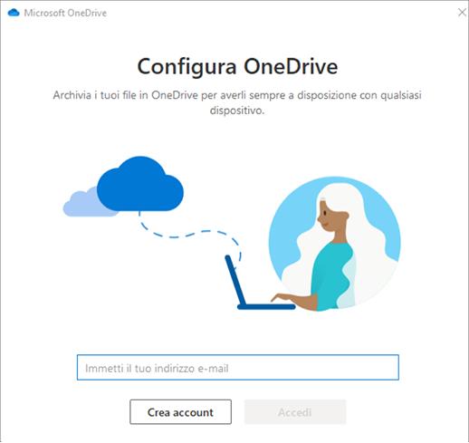 Screenshot della prima schermata dell'installazione di OneDrive