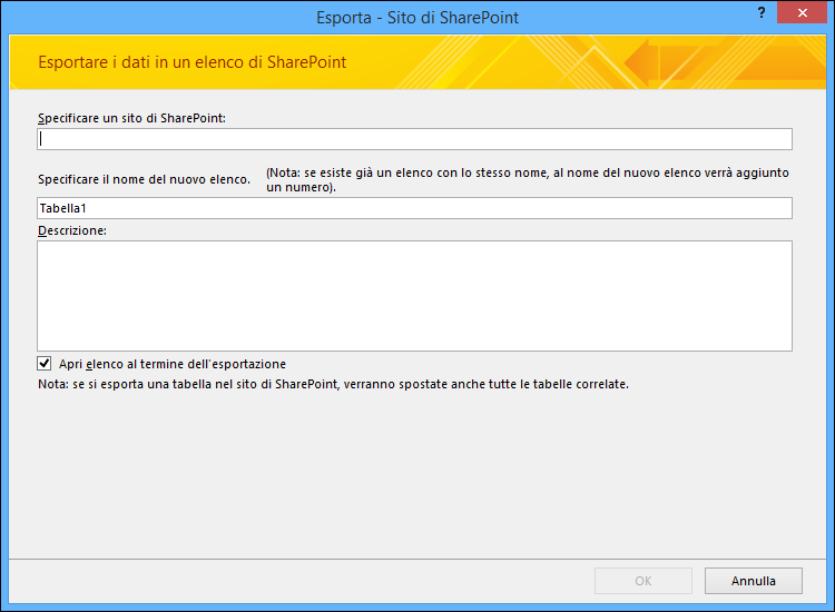 Specificare un sito di SharePoint in cui esportare la tabella o la query di Access.