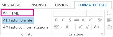 Opzione relativa al formato HTML nella scheda Formato testo in un messaggio