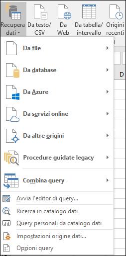 Dati > Recupera e trasforma > opzioni di Recupera dati