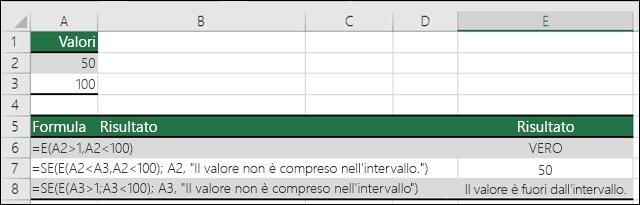 Esempi d'uso delle funzioni SE con AND