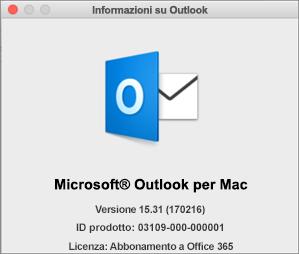 Se si usa Outlook tramite Office 365, in Informazioni su Outlook sarà indicato l'abbonamento a Office 365.