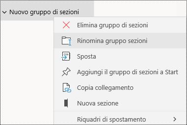 Rinominare gruppi di sezioni nell'app OneNote per Windows 10