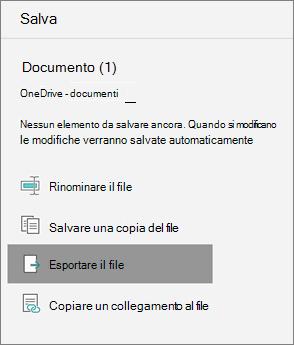 Esportare il file