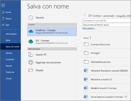 Salvare un file di Word nel cloud