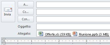 Allegati che compaiono sotto la casella Oggetto in un messaggio in formato HTML