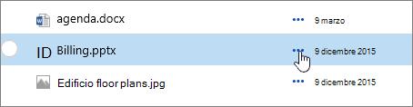Nome del file evidenziata nella raccolta documenti