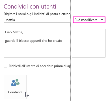 Screenshot dell'interfaccia di condivisione in OneNote 2016.