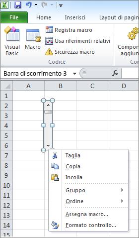 controllo Formato barra scoll