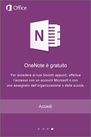 Schermata di accesso dell'app OneNote