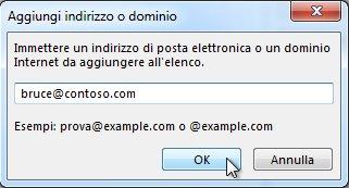 Finestra di dialogo Aggiungi indirizzo o dominio