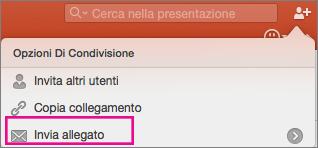 Invia allegato in PowerPoint per Mac