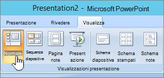 Visualizzazione della barra multifunzione con il pulsante normale selezionata