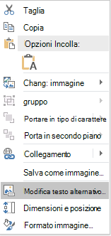 Dal menu PowerPoint Win32 modifica Alt testo per le immagini