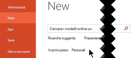 In file > nuovo selezionare l'opzione personale per visualizzare i modelli personali