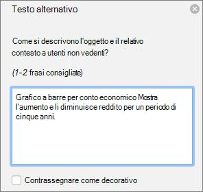 Finestra di dialogo di Excel 365 scrivere Alt testo per i grafici pivot