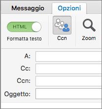 Per attivare la casella Ccn, aprire un nuovo messaggio, scegliere la scheda Opzioni e dare clic su Ccn.
