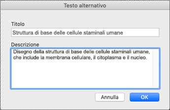 Finestra di dialogo Testo alternativo per Mac Sierra.
