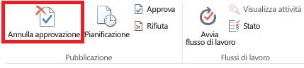 Barra multifunzione con il pulsante Annulla approvazione