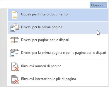 Intestazione e piè di pagina nel menu Opzioni in Word Online