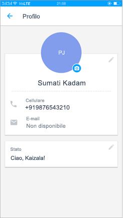 Screenshot del profilo per aggiornare l'impostazione di stato
