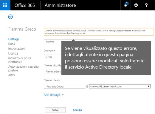 Errore che indica che i dettagli dell'utente possono essere modificati solo in Active Directory
