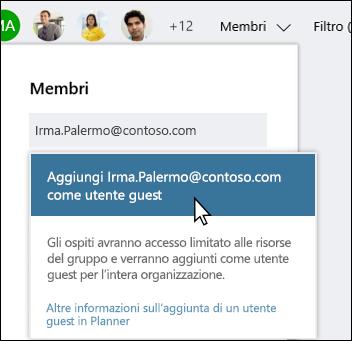 Cattura di schermata: con messaggio che chiede se si desidera aggiungere l'utente guest.