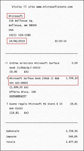 La ricevuta (o la prova di acquisto) deve indicare il negozio in cui il dispositivo è stato acquistato, la data e il nome del dispositivo (citato o dettagliato).