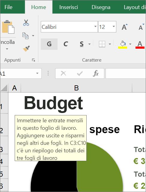 Ritaglio di schermata dell'interfaccia utente di Excel che mostra istruzioni predefinite.