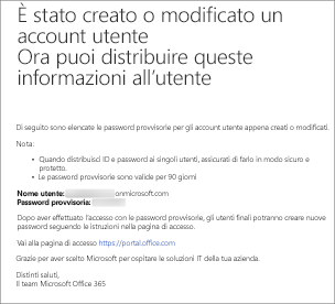 Si riceverà un messaggio di posta elettronica simile a questo con il nome e la password del nuovo utente.