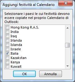 Finestra di dialogo per la selezione delle festività di paesi/aree geografiche