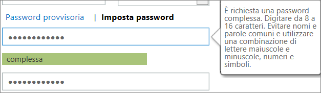 Mostra i requisiti della password se si digita una password