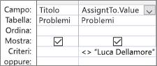 Griglia di struttura della query con. Formato valore per il campo di ricerca