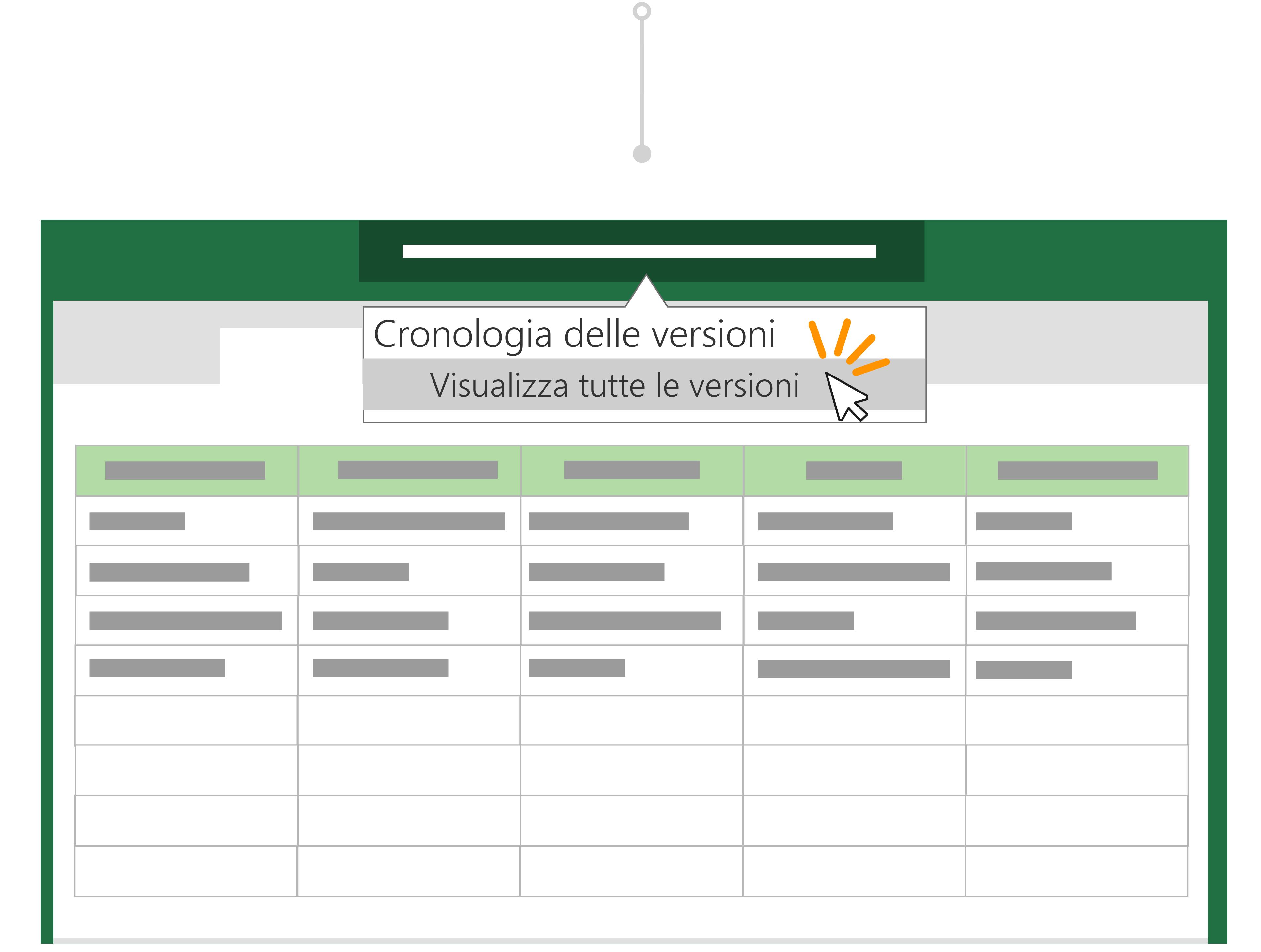 USA cronologia versioni per tornare a una versione precedente di un file.