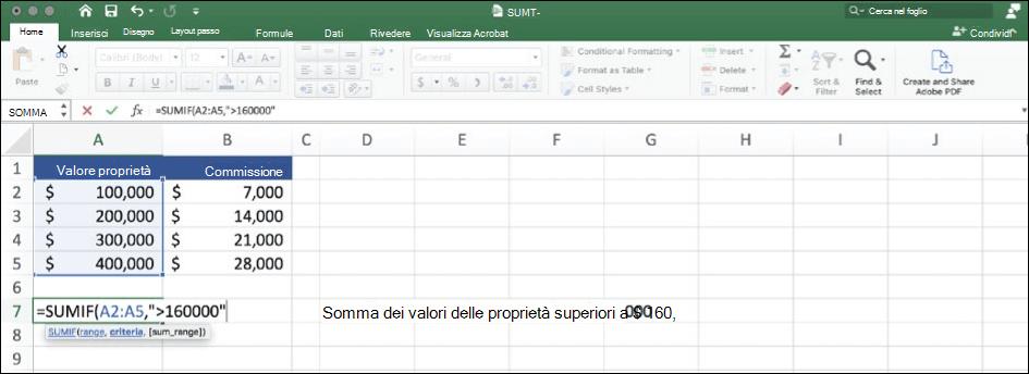 Screenshot di dai Excel con la funzione SOMMA.SE