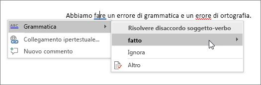 Esempio di controllo ortografia e grammatica in Office 365